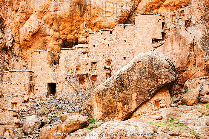 12th century grain store or Agadir at the Berber village of Tizgui, Anti Atlas mountains, Morocco, North Africa. April. 2012.