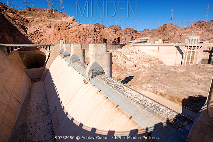 Overspill, standing high and dry at the Hoover Dam on Lake Mead,  following a four year long drought. Nevada, USA, September 2014.
