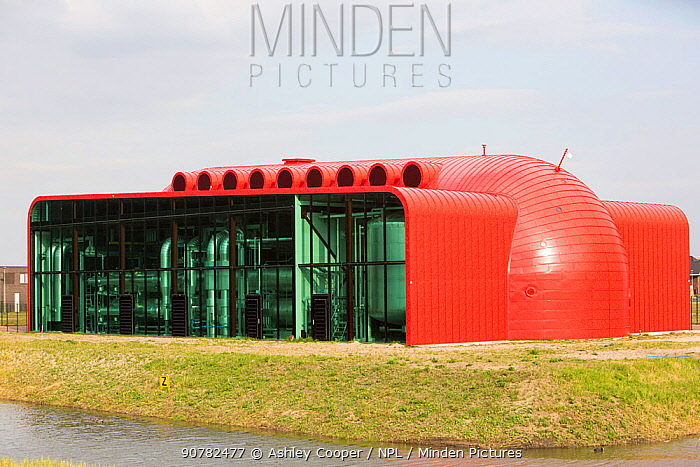 Futuristic looking building which receives hot water in an 11km long pipe from The Diemen combined heat and power plant, combined heat and power station and supplies space heating for up to 25,000 houses in the town of Almere, Flevoland, Netherlands. May.