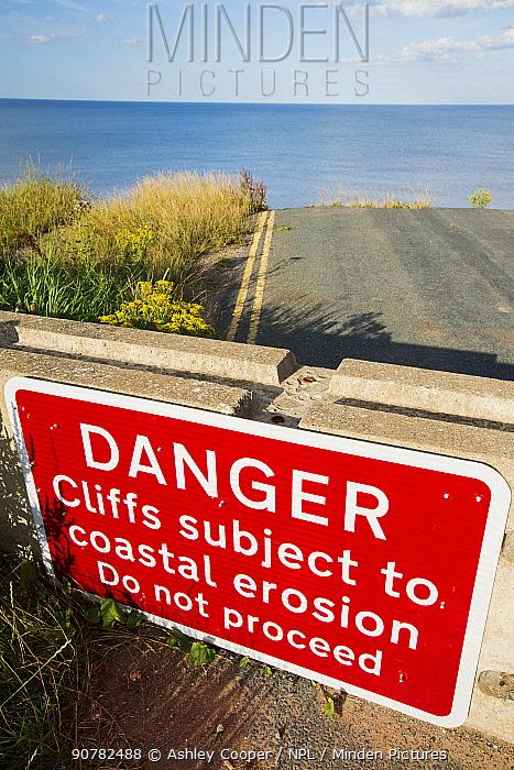 Collapsed coastal road near Skipsea, Yorkshire, England, UK. August 2013.