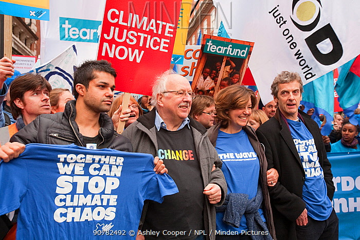 Former BBC weatherman Michael Fish, the actress Greta Scacchi and the actors Peter Capaldi and Junade Khan at the Stop Climate Chaos Coalition Demonstration. London, England, UK, December. Saturday 5th December 2009.