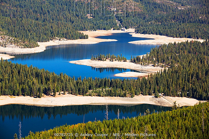 Ice house lake in drought conditions in the El Dorado National Forest, California, USA. October 2014.