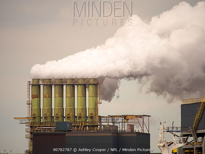 Emissions from a Tata steel works in Ijmuiden, Netherlands.May 2013