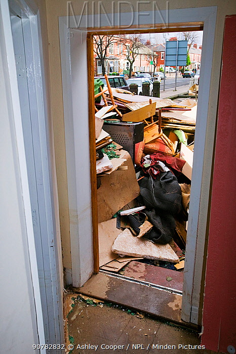 Furniture and belongings discarded after flooding caused by severe storm, Carlisle, Cumbria, England, UK, 12th January 2005.