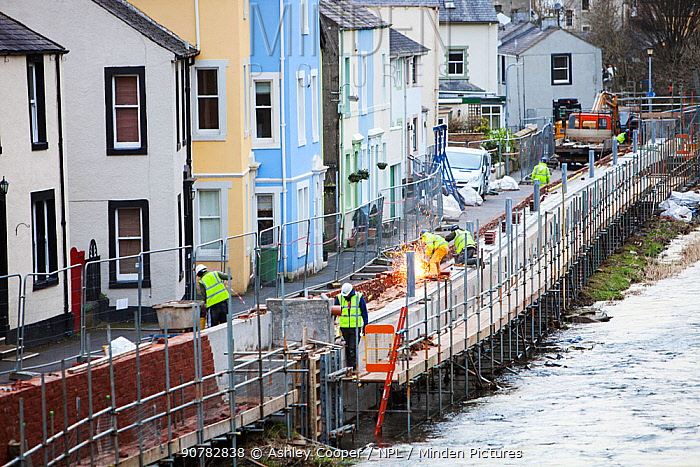 New flood defences in Cockermouth, Cumbria, UK. Built after the disastrous 2009 floods that inundated large parts of the town. They were completely overtopped by the floods from Storm Desmond December 2015.