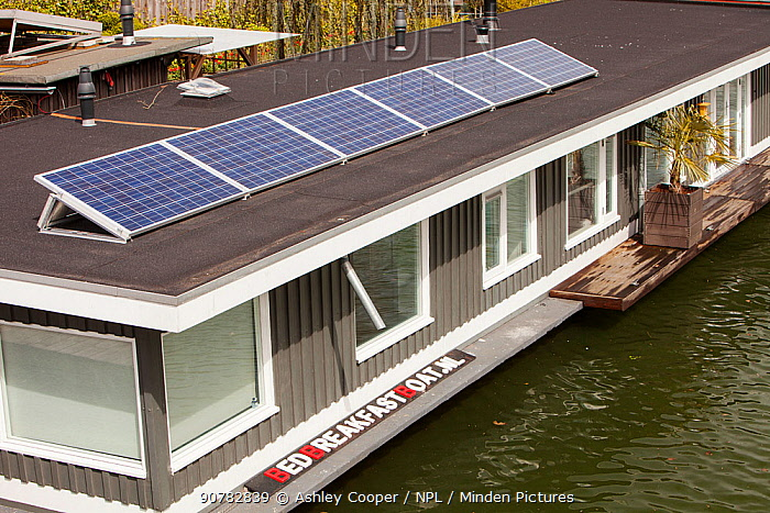 Floating house bed and breakfast with solar panels, Amsterdam, Netherlands, April 2013.
