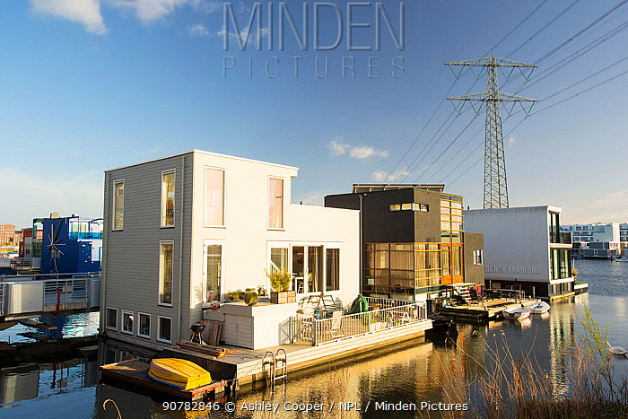 Floating houses in  Ijburg, a suburb of Amsterdam, Netherlands, April.