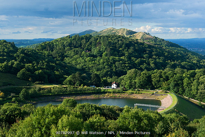 British Camp Reservoir and Tinker's Hill Wood, the Malvern Hills AONB and SSSI, Worcestershire, England, UK, August 2017.