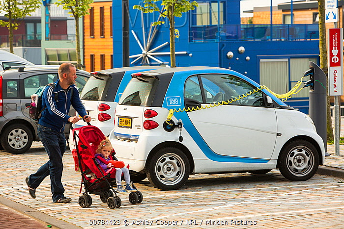 Electric Smart car at a charging station for electric cars in Ijburg, Amsterdam, Netherlands, May 2013.