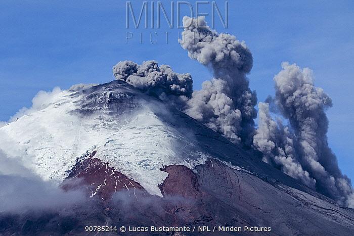 Plume of ash over the erupting Cotopaxi Volcano, Cotopaxi National Park, Cotopaxi, Ecuador, August 2015.
