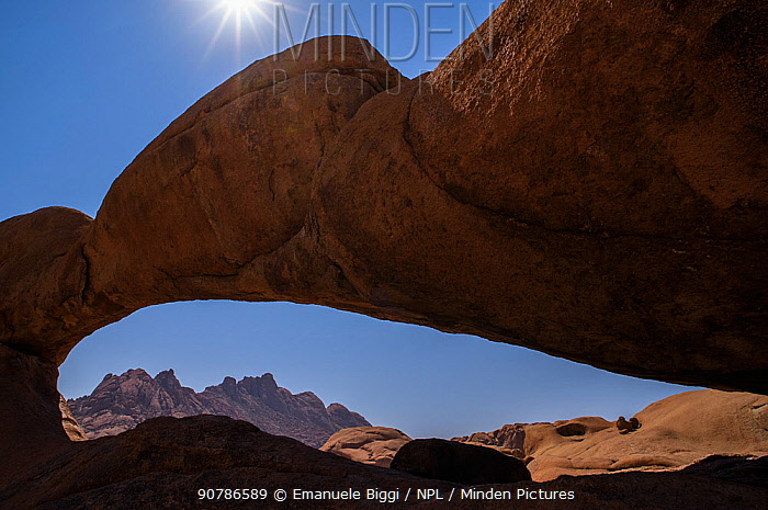 Spitzkoppe's natural rock arch, Spitzkoppe area, Namibia.