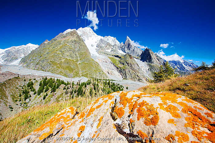 View towards Mont Blanc and the Glacier du Miage from above Val Veny, Italy. August 2014.