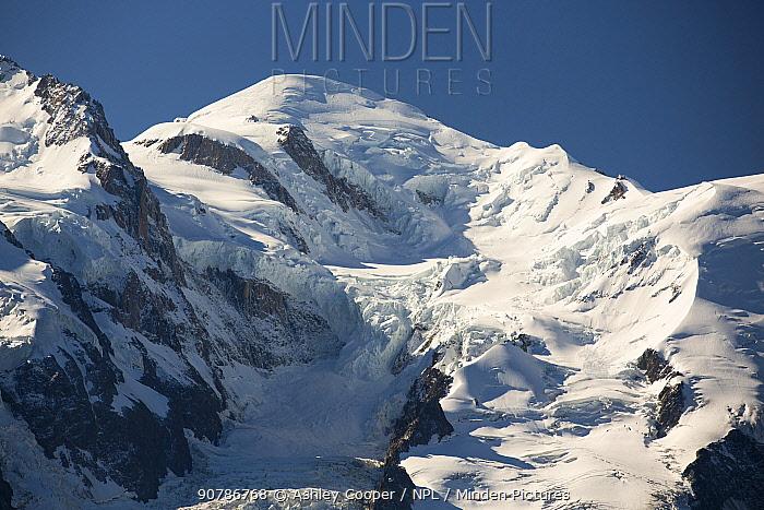 Mont Blanc above Chamonix, French Alps, France. September 2014.