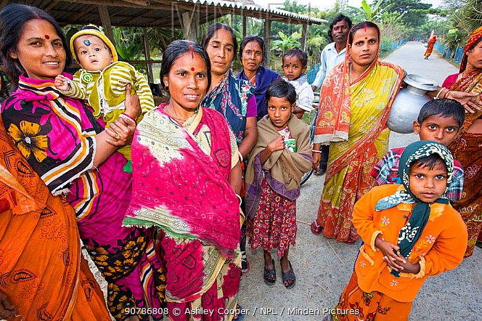 Villagers in a remote subsistence farming village on an island in the Sunderbans, the Ganges Delta in Eastern India. December 2013.