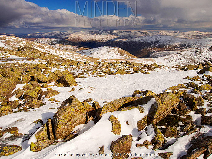 View towards the Helvellyn Range over Glaramara from Great End , Lake District, Cumbria, England, UK. March 2013.