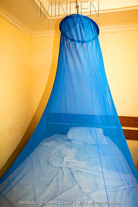 A mosquito net over a bed in a bedroom in a cheap hotel in Chikwawa, Malawi. March 2015.