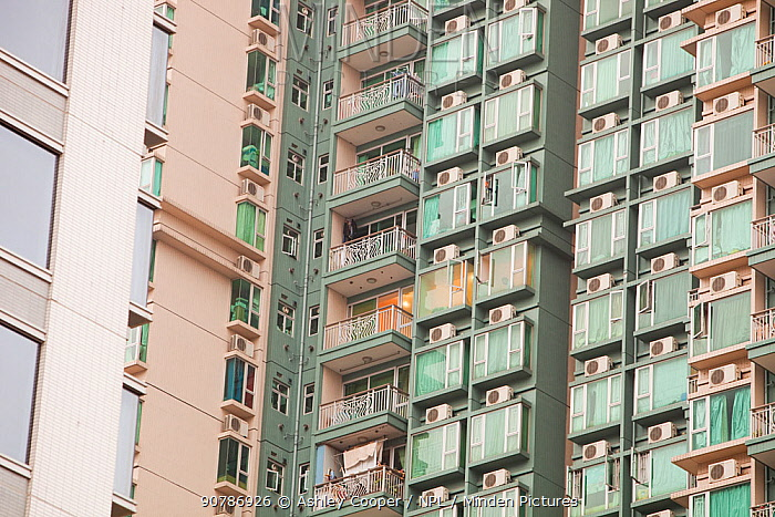 Flats in Kowloon with air conditioning units. Hong Kong, February 2010.
