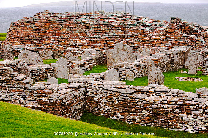 The Broch of Gurness,  the best preserved Broch in Orkney, on mainland island. This defensive building was thought to have been constructed between 100 and 200 BC.