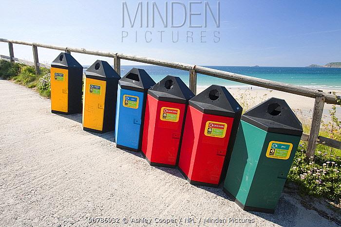Recycling bins at Sennen Cove, Cornwall, England, UK. June.