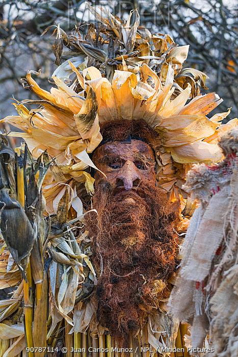 Man in costume at 'La Vijanera' Carnival in Silio. Molledo Municipality,  Cantabria, Spain. January 2017.