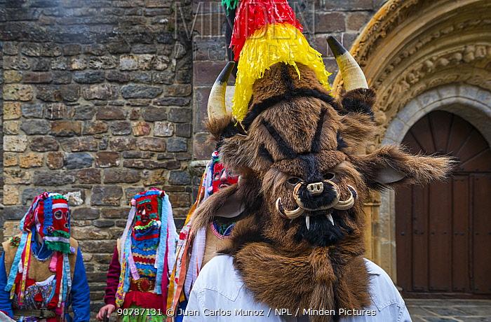 Man in traditional Zamarrones costume, Antruido Carnival, Piasca, Liebana Valley, Cantabria, Spain. February 2017.