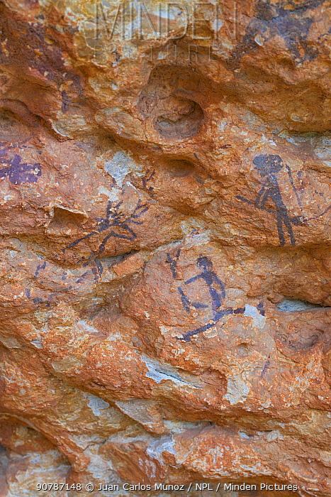 Rock art in the  Abrics de l'Ermita caves Ulldecona Village, Catalonia, Spain, June.