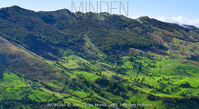 Cabanas Pasiegas and meadows, Miera Valley, Cantabria, Spain. October 2017.