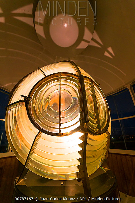 Light of Cape Mayor Lighthouse, Santander, Cantabria, Spain. January 2017.