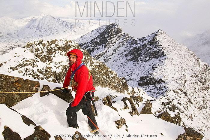 Climber i on Sgurr Alasdair on the Cuillin Ridge, Isle of Skye, Scotland. March 2006