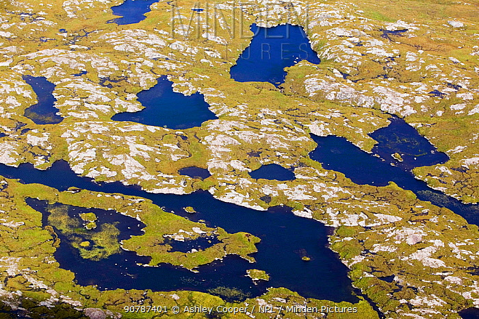 Flow country beneath Suilven, Sutherland, Scotland, UK. September 2006