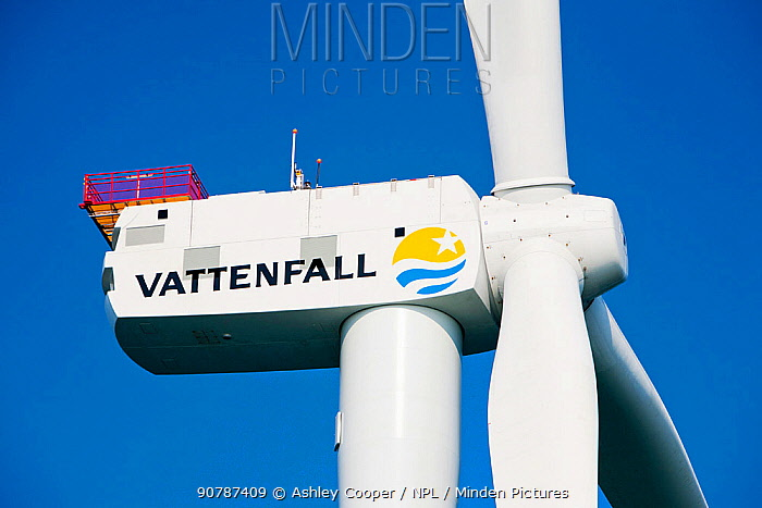 Close up of turbine in Ormonde Offshore Wind Farm, Barrow-In-Furness, Cumbria, England, UK. September 2011