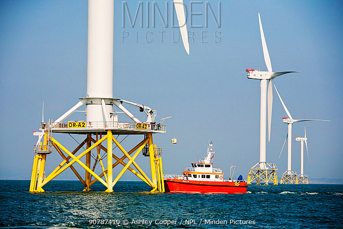 The Ormonde Offshore Wind Farm during construction.  Barrow-In-Furness, Cumbria, England, UK. September 2011