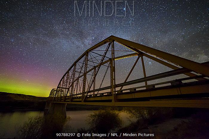 Aurora Borealis over Dorothy Bridge, Alberta, Canada, May 2016.
