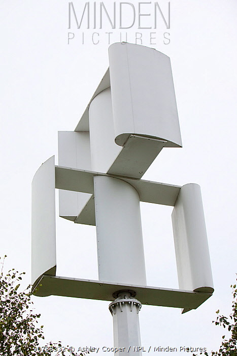 A vertical axis wind turbine in the grounds of a Tesco supermarket in Oldham, Lancashire, UK. October 2009