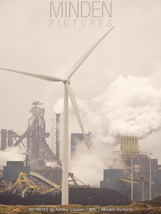 Emissions from a Tata steel works amd wind turbine, Ijmuiden, Netherlands, with a wind turbine. April 2013