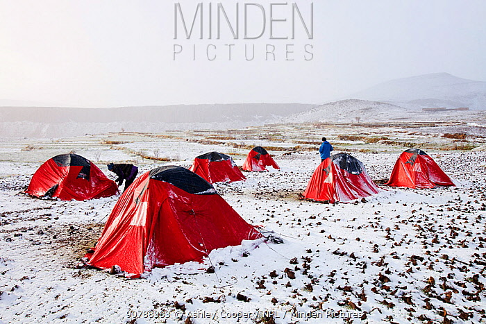 Trekkers camp in the snow,  Jebel Sirwa region of the Anti Atlas mountains of Morocco, North Africa. April 2012