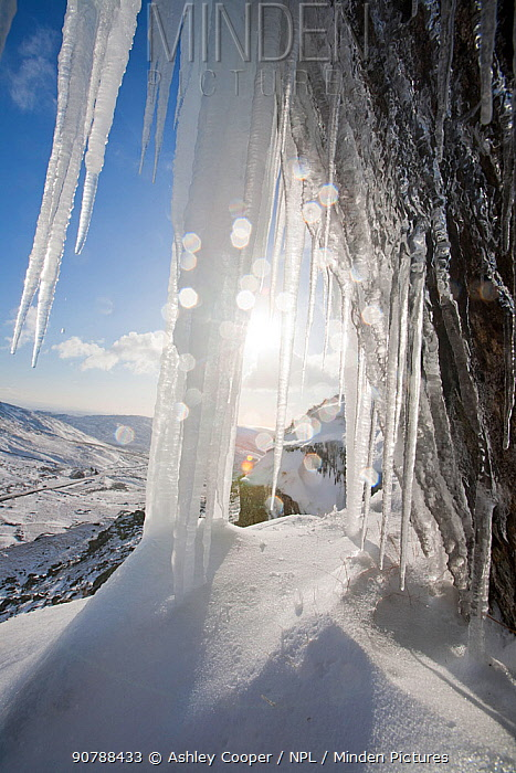 Ice fall on Red Screes in the Lake District, during a very cold snap in Novembver 2010