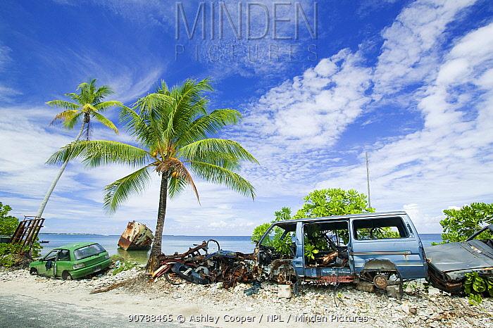 Ship wrecked by Hurricane Bepe on Funafuti Atoll, Tuvalu. March 2007
