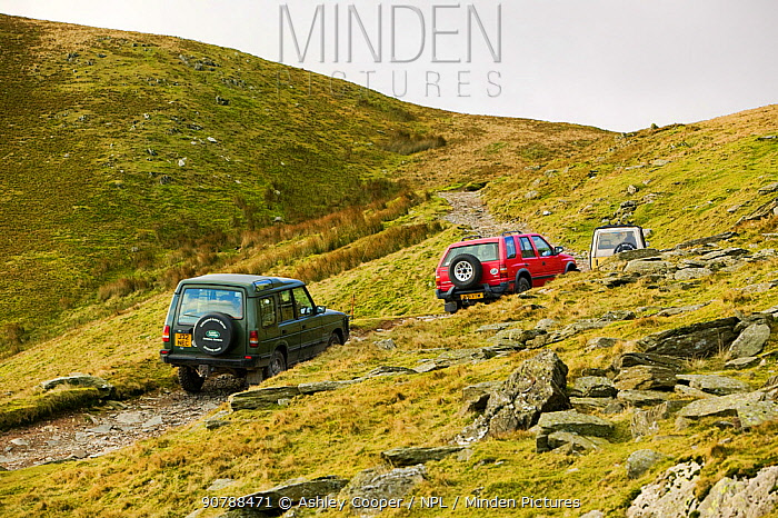 Off road vehicles on the Walna Scar road above Coniston in the Lake District, UK. November 2004