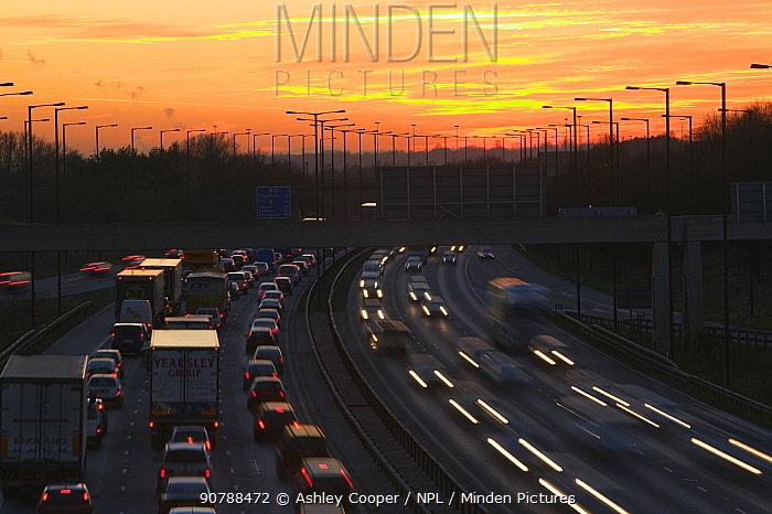 Rush hour traffic on the M60 motorway near Manchester UK. January 2007