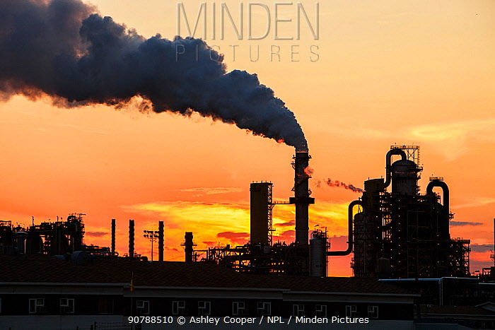 The tar sands upgrader plant at the Syncrude mine , at sunset , north of Fort McMurray, Alberta, Canada. August 2012