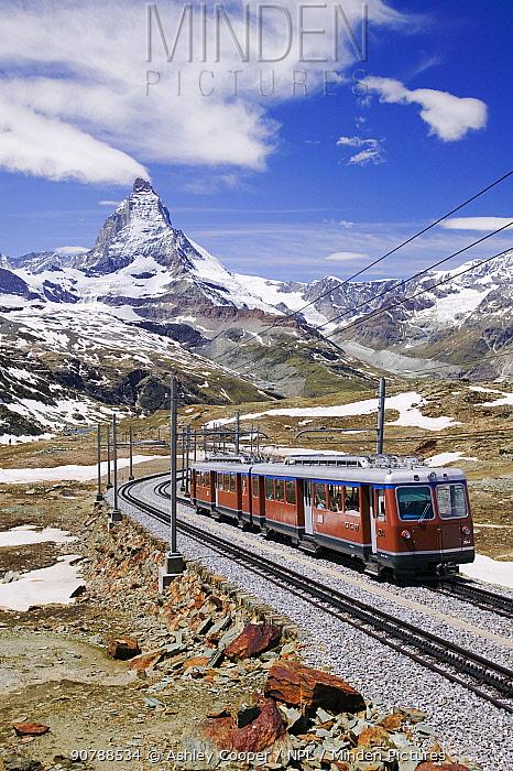 The Gornergrat railway above Zermatt Switzerland. June 2004