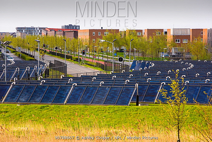 Sun Island in Almere, which is the Netherlands youngest town, in Flevoland, which was reclaimed from the sea. This planned city is very green, with space heating provided from a nearby combined heat and power plant, and from Sun Island, pictured hear, a circle of solar thermal panels which provides hot water for the residents. Many of the houses have solar PV panels on the roof to generate their own electricity. Zoneiland contains 520 solar panels covering an area of approximately 7000 m2. Annually it provides 9,750 gigajoules of renewable, sustainable energy, equal to 10% of Almere city's total annual energy needs. The rest of the energy is provided by the local power plant in Almere. May 2013