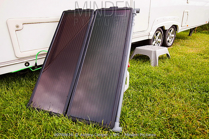 A solar water heating panel attached to a caravan. June 2012
