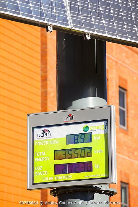 Tracking solar voltaic panels outside the University of Central Lancashire, Preston, UK. February 2013