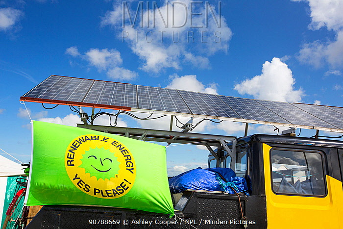 Truck with solar panels attached at a protest against fracking at a farm site at Little Plumpton near Blackpool, Lancashire, UK, where the council for the first time in the UK, has granted planning permission for commercial fracking fro shale gas, by Cuadrilla. August 2014