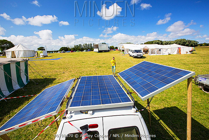 Van with solar panels attached at a protest against fracking at a farm site at Little Plumpton, near Blackpool, Lancashire, UK, where the council for the first time in the UK, has granted planning permission for commercial fracking fro shale gas, by Cuadrilla. August 2014