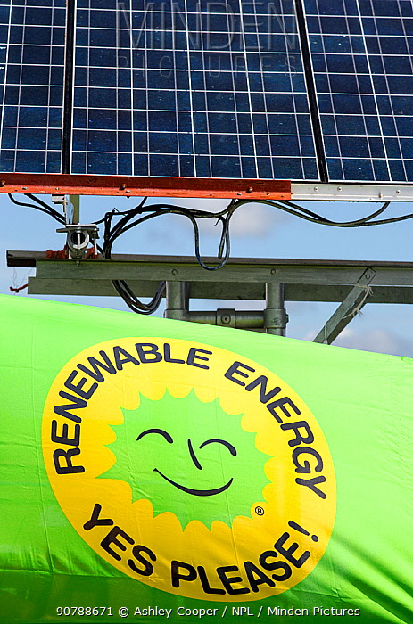 Truck with solar panels attached at a protest against fracking at a farm site at Little Plumpton near Blackpool, Lancashire, UK, August 2014