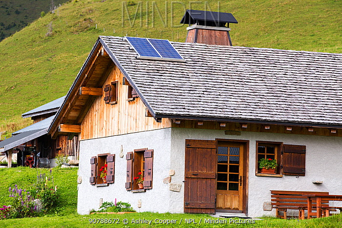 Solar panels on a visitor centre in the Vallon de la Lex Blanche below Mont Blanc, Alps, Italy. August 2014