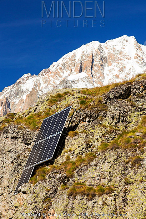 Solar panels attached to a cliff above the Refuge Bertone, which provied electricity to this off grid mountain hut. Tour du Mont Blanc, Alps, Italy. August 2014
